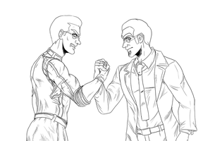 Albert Wesker vs Agent Six -Preview lineart- by nupao
