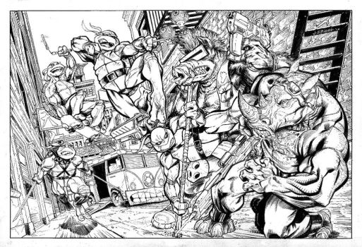 TMNT commission inks by J-WRIG