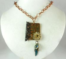 Copper Hammered Metal Book Pendant Necklace by DryGulchJewelry