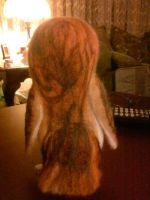 Owl Feather pattern on the back of my needle felt. by CreationsbyFrost
