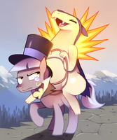 Typhlosion riding Caesar by Karzahnii