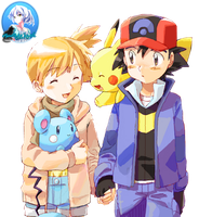 Pokemon - Misty and Ash (PokeShipping) Render #1 by iKuroNekoTenshix3