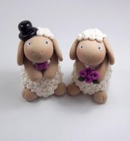 Brown Sheep Wedding Cake Topper by HeartshapedCreations