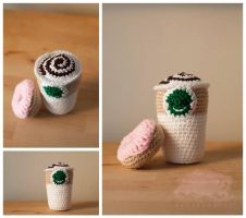 Starbucks Inspired Cup and donut by StarCrossedCrocheter