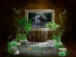 Waterfall in the room by Eithen