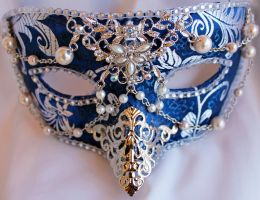 Blue Brocade Masquerade Mask With Filigree Work by DaraGallery
