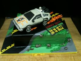Back to the Future Cake- Side View by Spudnuts
