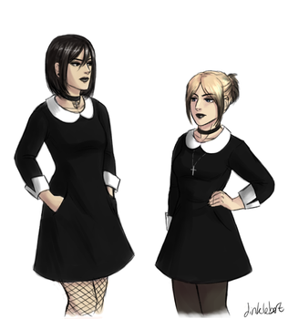 mikasa and annie clothes meme by Dinklebert