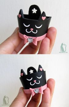 Black cat polymer clay planter by Talty