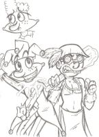 Eugene and Curly Comic Sketch by squid1girl