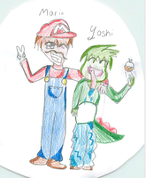 Young Mario and Young Human Yoshi by Rinamaru