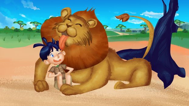 Lion and boy by nowzee
