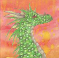 Green Dragon with Background by RukahTsubasa