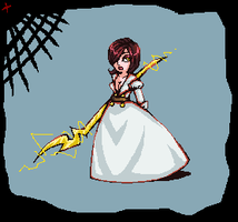 Lera in wedding dress with scepter by Amela-xD