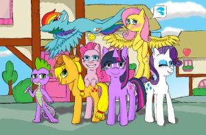 Mane 6 and a Dragon. by hbdhow