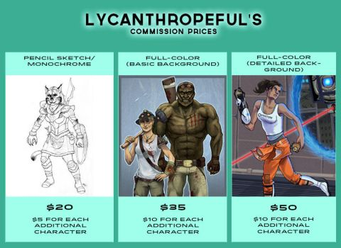 Commission Prices - Fall 2014 by lycanthropeful
