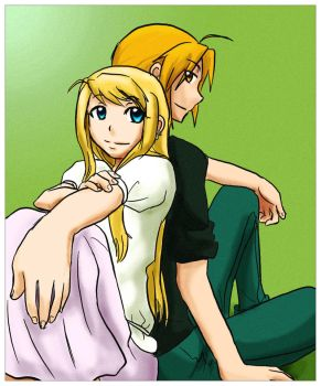 FMA: Winry and Ed in a photo by qianying