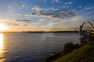 Brazilia skyline and sunset from Ponte JK by EyeInFocus