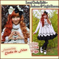 Long Curly - Auburn + Light Brown by GothicLolitaWigs