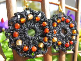 Carnelian Beaded Crochet Earrings in Black, No. 27 by doilydeas