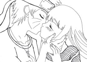 Naruto and Hinata: First Kiss by deadman25