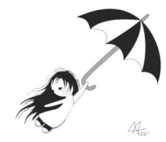 A little girl with an umbrella by pshcholka