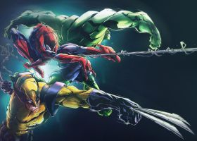 Wolverine  Spider Man And Hulk Colors by kcspaghetti