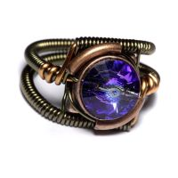 Steampunk Ring - Heliotrope Purple Crystal by CatherinetteRings