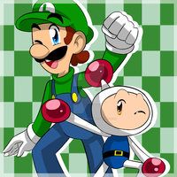 Bomberman And Luigi by LuigiFlowerDragon