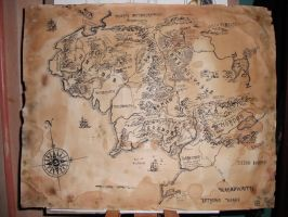 commission- Middle Earth map by aryundomiel