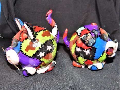 Patchwork Pup and Calico Cat (sides) by metalpug