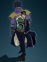 Jotaro and Star Platinum by McKravendrawings