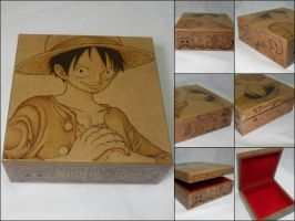 One Piece - Luffy 2 [Pyrography / Woodburning] by dcmorais