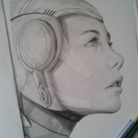 Trying a sci-fi character design,Pencil 2014 by Daviddleonluis