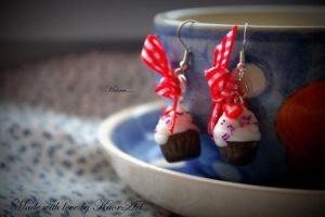 Earrings Strawberry Muffins by KaoriArt