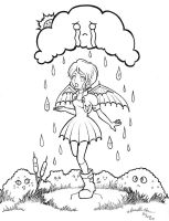 Under The Rain - Lineart by rose-star