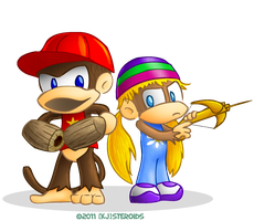 Diddy and Tiny Kong by kjsteroids