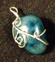 Wire-Wrapped Blue Agate Pendant by FaerieForgeDesign