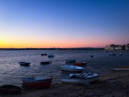 Bay with boats - Seixal Bay - Portugal by JohnnyPhoenixz