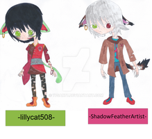 ShadowFeatherArtist and lillycat508 free adopts!! by 77SAR77