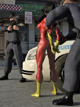 Spider-Woman vs Two Cops 05 by DahriAlGhul