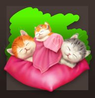 Kittens in Love.... Sleeping by EldarZakirov