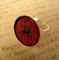 Black Widow Fused Glass Ring by FusedElegance