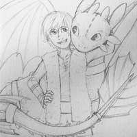 Hiccup and Toothless sketch by Roxy12333