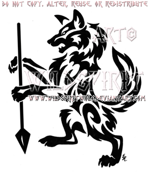 Rampant Wolf With Spear Tribal Design by WildSpiritWolf