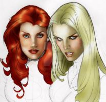 Jean Grey N Emma Frost by SincereEyez