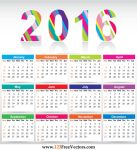 Free Colorful Calendar 2016 Vector Template by 123freevectors
