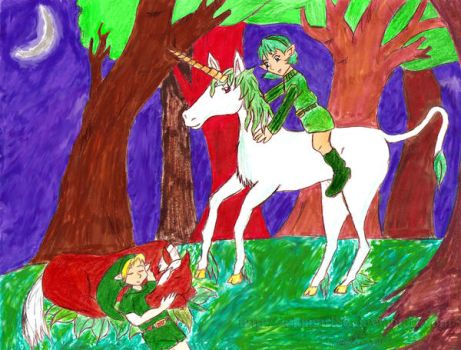 Forest Unicorn and Saria by Zeldagirl86