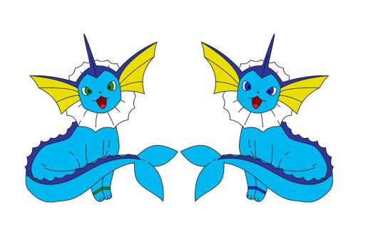 Evora and Delightshy the Vaporeon twins by NobleBlaze