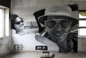 Mural - Johnny Depp Fear and Loathing in Las Vegas by mechanism0022